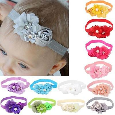 Newborn Baby Girl Pearl Lace Flower Headband Elastic Hair Band Kid Soft Headwear