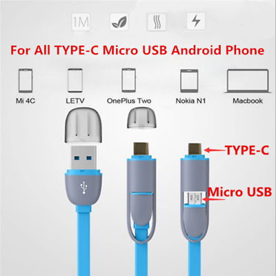 2 in 1 Combo 1M/3FT Type C 3.1&Micro USB TPE Fast Charging Sync Data Cable Wire