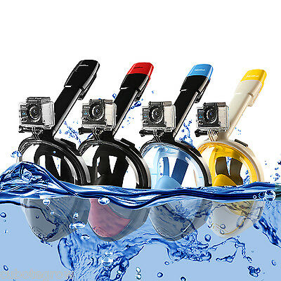 2nd Ver Snorkel Mask Full Face Diving SCUBA Dive Swimming w/ Breather for Gopro
