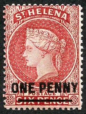 St Helena SG38 1d Pale Red wmk Crown CA M/Mint Very Fresh