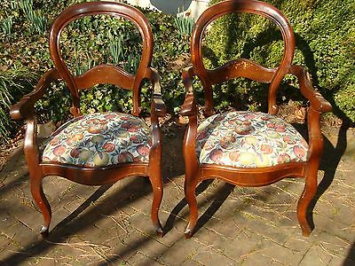 Antique Mahogany Balloon Back Arm Chairs