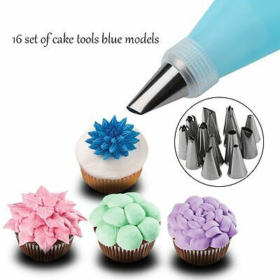 14x Nozzle + Silicone Icing Piping Cream Pastry Bag Set Cake Decorating Tool RAU