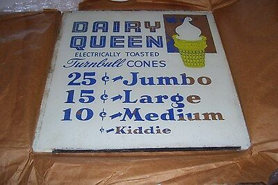 Vintage AWSOME Glass Advertising Sign for DAIRY QUEEN-14 1/2 x 15""