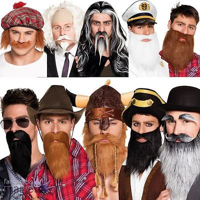 False Fake Moustache Beard Tash Self Adhesive Facial Hair Fancy Dress Costume