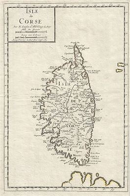 1658 Sanson Map of the Island of Corsica, France
