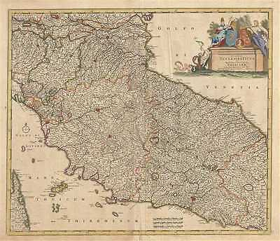 1721 De Wit Map of Central Italy (Tuscany and the Papal States)