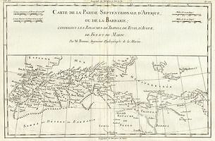 1780 Bonne Map of North Africa and the Western Mediterranean: Barbary Coast