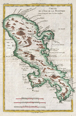 1780 Raynal and Bonne Map of Martinique, West Indies
