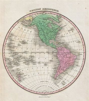 1827 Finley Map of the Western Hemisphere (North America, South America)