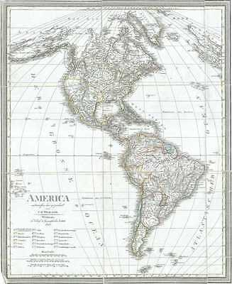 1828 Weiland Map of North America and South America