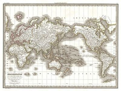 1832 Lapie Map of the World on Mercator Projection