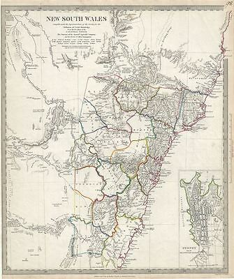 1833 S.D.U.K. Map of New South Wales, Australia