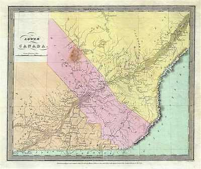 1834 Burr Map of Lower Canada (Quebec)