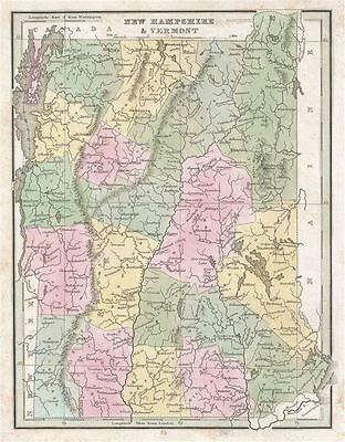 1835 Bradford Map of New Hampshire and Vermont