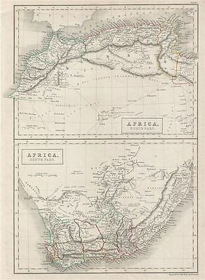 1840 Black Map of South Africa and North Africa