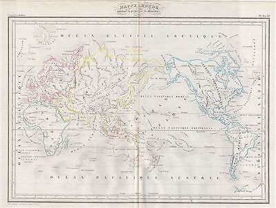 1843 Malte-Brun Map of the World on Mercator's Projection