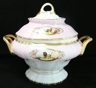 Antique Porcelain Hand-Painted Animal Motif Footed Pink Tureen *