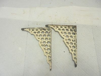 "2 vintage cast iron shelf brackets 4"" X 5"" very ornate old white paint #5"