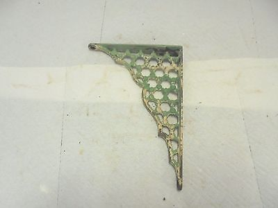"vintage cast iron shelf bracket 5"" X 6-3/4"" ornate old green & white paint #6"