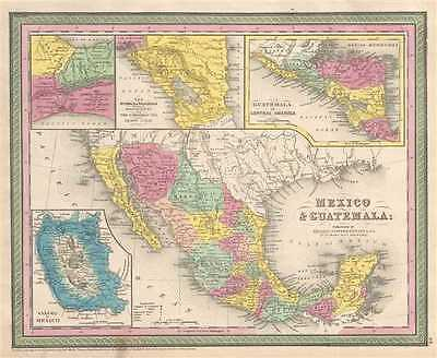 1854 Mitchell Map of Mexico and Guatemala