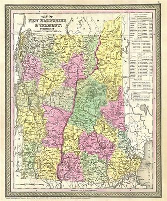 1854 Mitchell Map of New Hampshire and Vermont