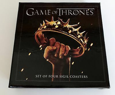Game of Thrones Sigil set 4 Coasters 2nd season NEW SEALED ready to ship