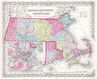 1855 Colton Map of Massachusetts and Rhode Island