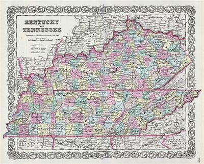 1856 Colton Map of Kentucky and Tennessee