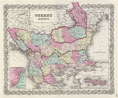 1856 Colton Map of Turkey in Europe, Macedonia, and the Balkans