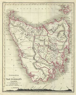 1860 Dower Map of Tasmania or Van Diemen's Land
