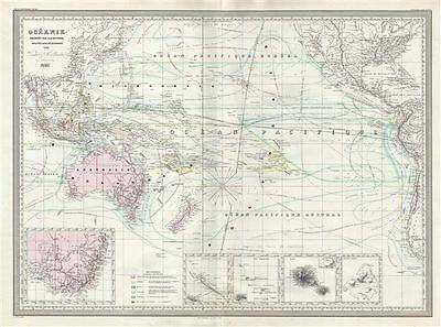 1860 Dufour Map of Australia, Polynesia and the Pacific Ocean