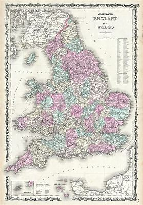 1861 Johnson Map of England and Wales