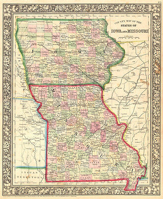 1861 Mitchell Map of Iowa and Missouri