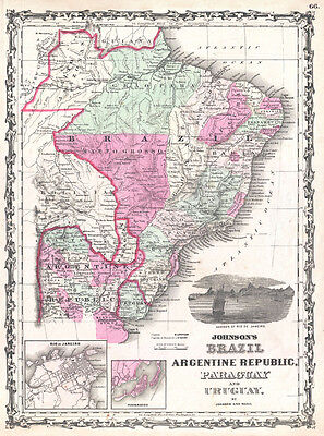 1862 Johnson Map of Brazil, Paraguay, Uruguay and Argentina