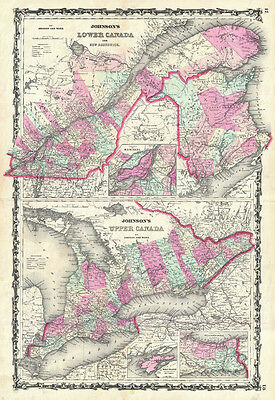 1862 Johnson Map of Ontario and Quebec, Canada