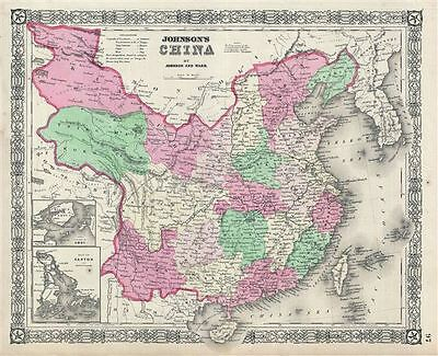 1864 Johnson Map of China and Taiwan