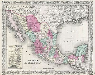 1865 Johnson Map of Mexico and Texas