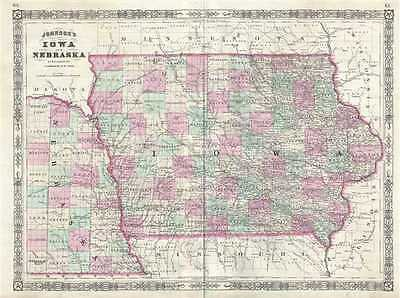 1866 Johnson Map of Iowa and Nebraska