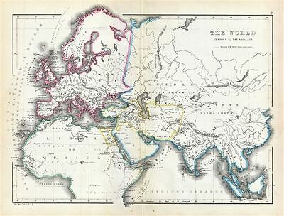 1867 Hughes Map of the World According to the Ancients