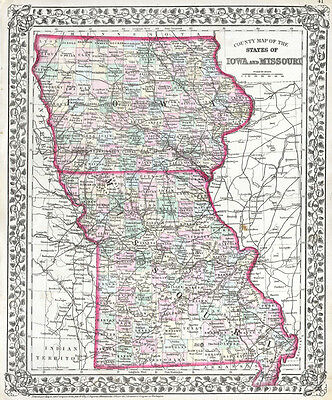 1872 Mitchell Map of Iowa and Missouri