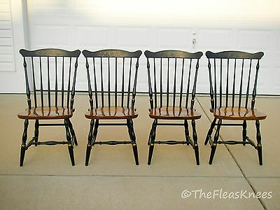 4 HITCHCOCK Black Stenciled Chairs Windsor or Riverton Fan Top; Great Condition