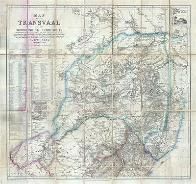 1878 Jeppe Map of the Transvaal (South African Republic) in South Africa