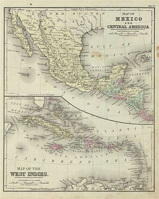 1879 Warren Map of Mexico, Central America and West Indies