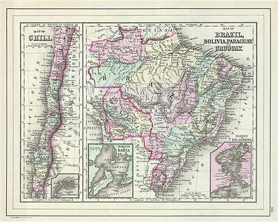 1887 Bradley Map of Chile, Brazil, Bolivia, Paraguay and Uruguay