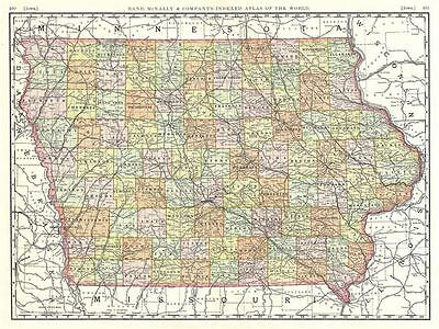 1889 Rand McNally Map of Iowa