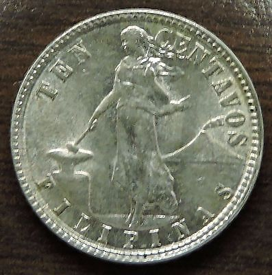 1945-D Philippines 10 Centavos Silver Coin