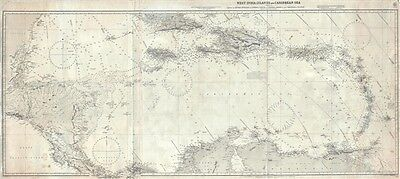 1913 British Admiralty Blueback Chart of the West Indies and Caribbean
