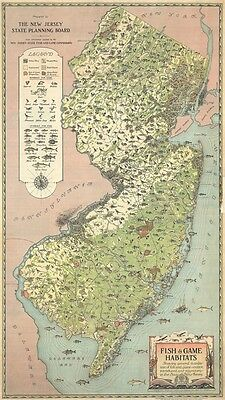 1937 A. Hoen Fish and Game Pictorial Map of New Jersey