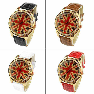 New stylish British Flag Pattern Female Quartz Watch Round Dial Leather Band A#