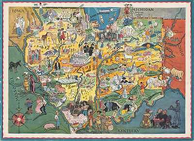 1950 Schoolbook Pictorial Map of Illinois and Indiana